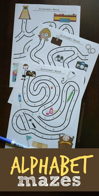 FREE Alphabet Mazes are such a fun way for preschool, prek and kindergarten age kids to practice their abc