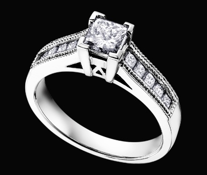 Maple Leaf Diamonds white gold engagement ring with double edge milgraine and princess cut stone