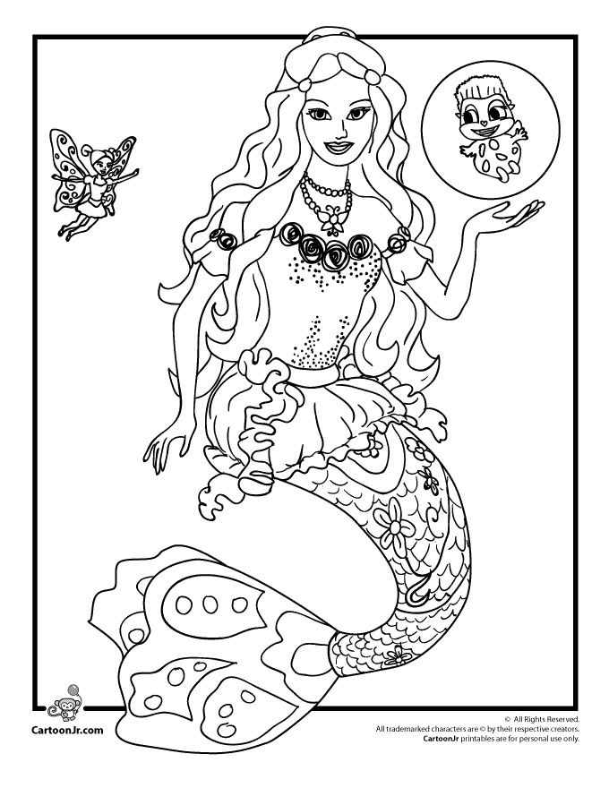 Barbie coloring pages barbie mermaidia coloring page cartoon jr
