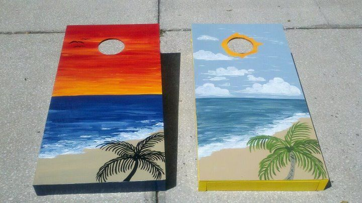 Sunrise beach and Sunset beach corn hole tables - woodwork by my husband. The design was envisioned by our friend, and I brought it to life!