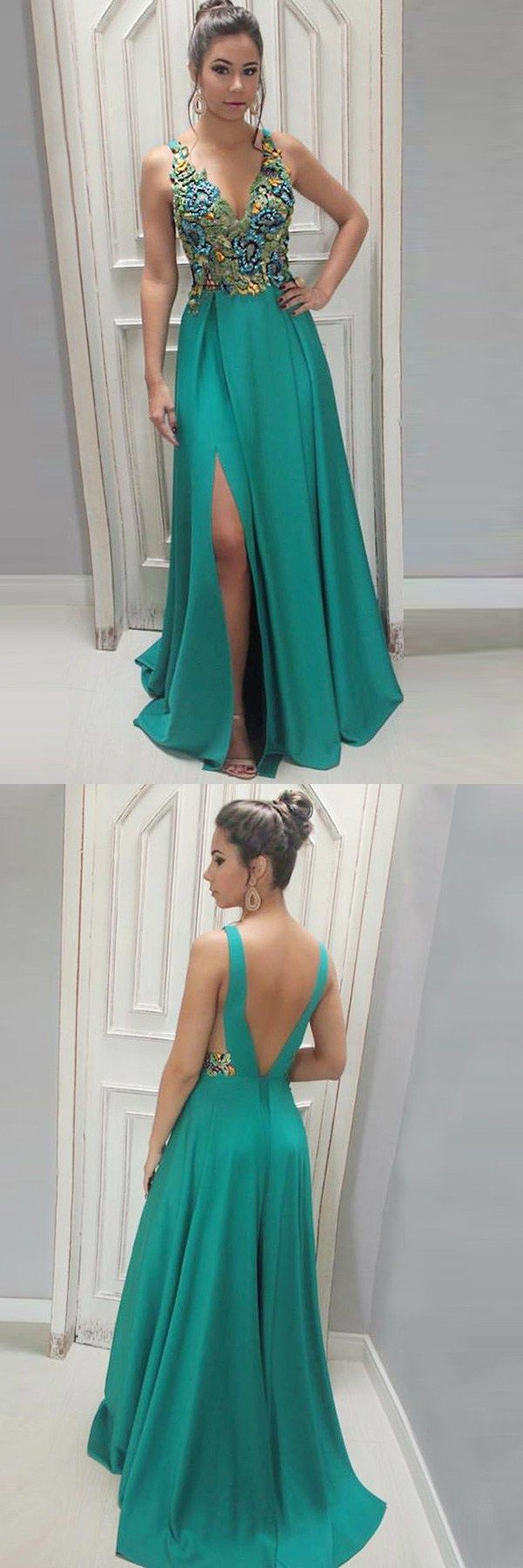 elegant hunter prom party dresses with beaded backless, fashion formal evening  gowns for special occasion, #eveninggowns