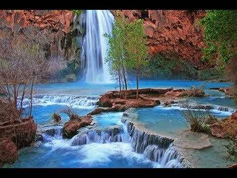 Wonderful waterfalls in the desert  (Nature Relaxation w/ Music) Havasupai Indian Waterfall Relaxation Video by David Huting