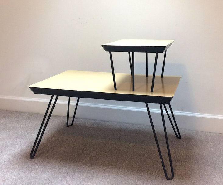 Mcm Two Tier End Table Hairpin Leg Side Table End Tables Mid Century Modern Side Table Side Table