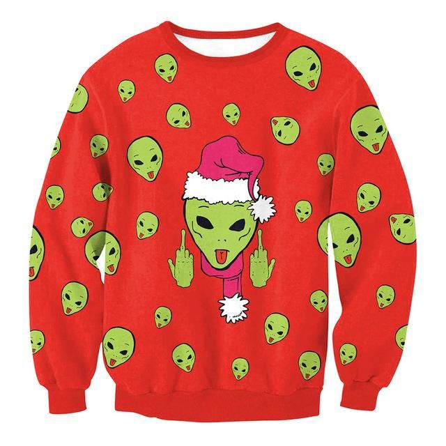 3D Full Print Alien Showing Middle Finger Ugly Christmas Sweatshirts for Women Tacky Xmas Pullovers S-XL