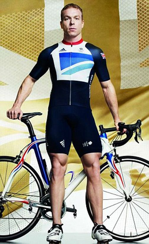 Sir Chris Hoy models the Team GB Olympic kit designed by Stella McCartney