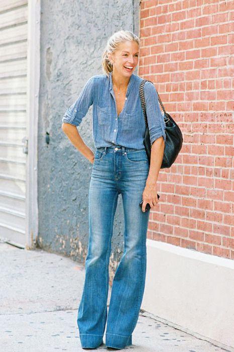 jeans+jeans: Denim On Denim, High Waist, Belle Bottoms, Street Style, Denim Outfit, Double Denim, Denimond Am, Wide Legs, Meredith Mell