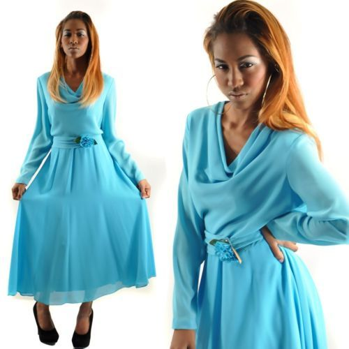 Blue Chiffon Dress eBay