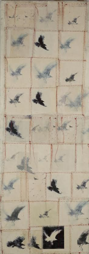 Catherine Eaton Skinner, Kyugee [Flock of Birds] encaustic, mixed media and red threads, 96 x 34