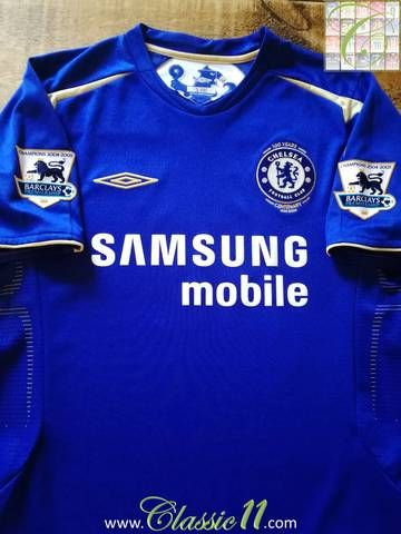 Official Umbro Chelsea home football shirt from the 2005 06 season.  Complete with 2004 05 Premier League Champions patches on the sleeves. 6ec99f034