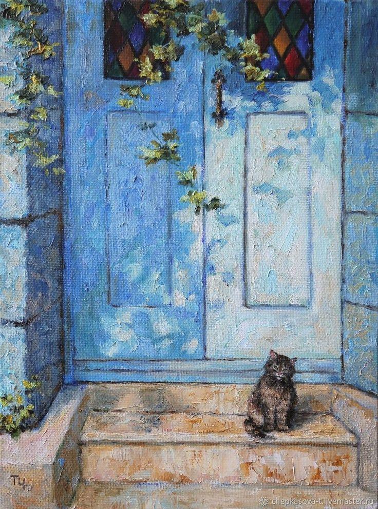 Кот у голубой двери. Холст, масло – купить в интернет-магазине на Ярмарке Мастеров с доставкой