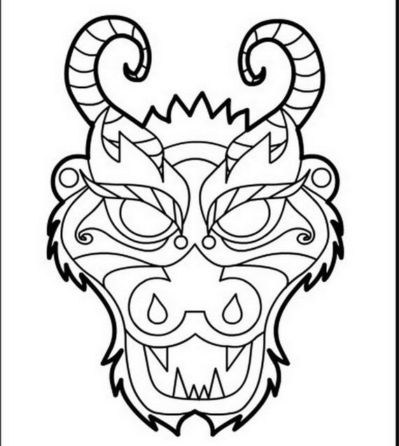 Download Or Print This Amazing Coloring Page Dragon Face Coloring Page Chinese New Year Dragon Dragon Coloring Page Chinese Crafts