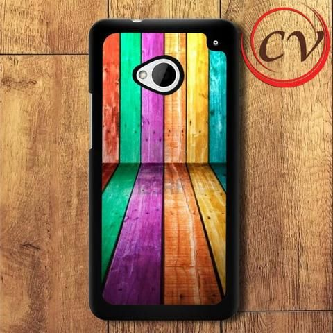 Colorfull Wood HTC One M7 Black Case