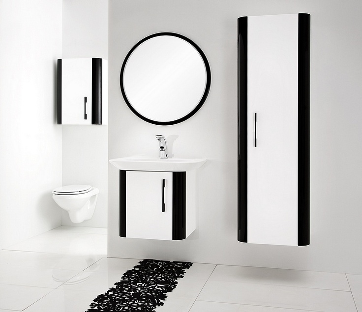 black and white - Pantone bathroom furniture collection / łazienka #bathroom #washbasin #minimalist #contemporary #white #black #furniture