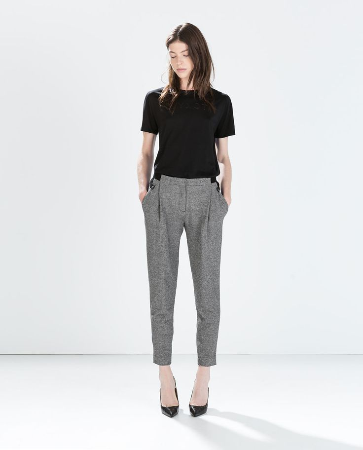 Image 1 of MIXED FABRIC WAIST TROUSERS from Zara