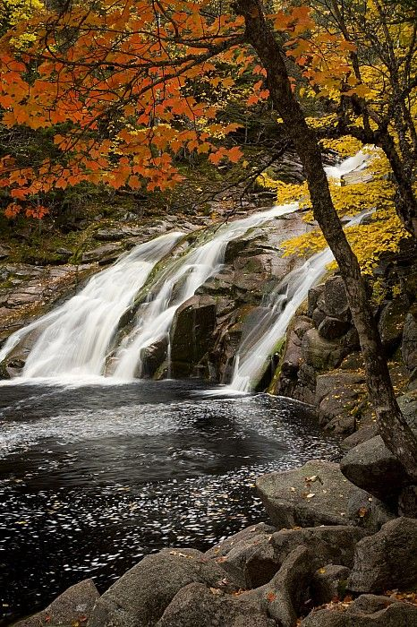 Mary Ann Falls, Cape Breton Highlands National Park, Nova Scotia, Canada; photo by .John Sylvester.  Also a nice place to swim and jump off the rocks.