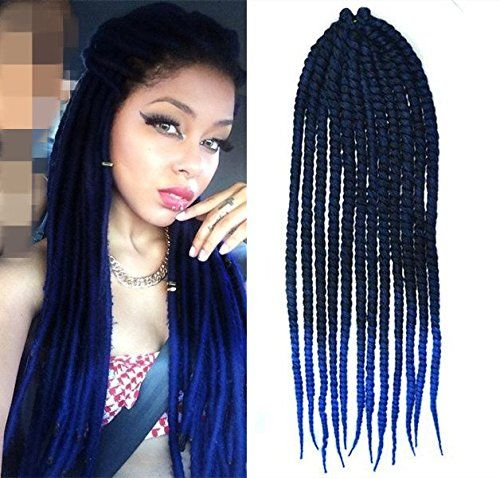 Black to Royal Blue Two Colors Ombre Crochet Braid Hair Extensions Hair Braids Havana Mambo ...