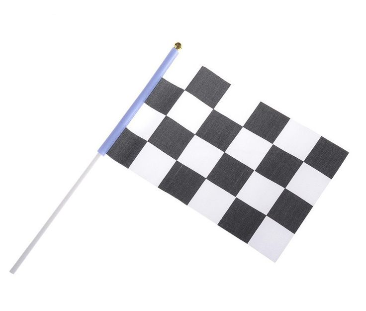 Fint sort og hvid ternet målflag på pind fra Sjovogkreativ.dk til leg, konkurrencer og sjov.