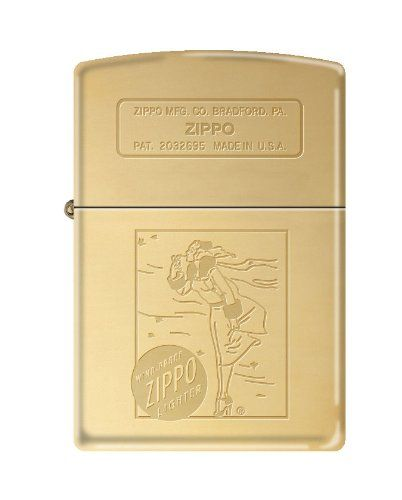 ZIPPO 254B Windy Girl Luster Polish Brass >>> Click on the image for additional details.