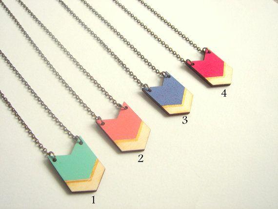 Chevron Halskette Holz geometrische Halskette von LiKeGjewelry