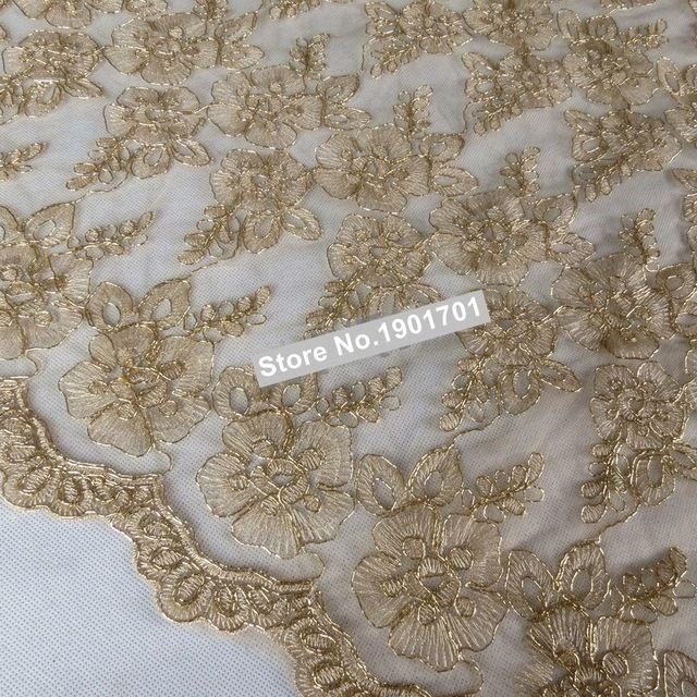 Breed 120 cm Rood/Goud Jurk kant stof allovered goud geborduurde kant stof mode stof dubbele borders kant