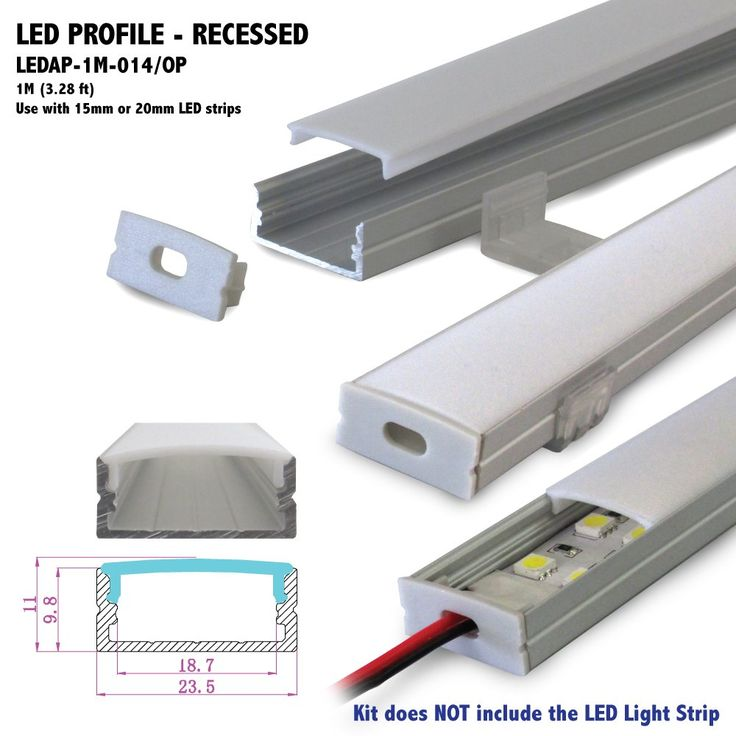 1M (3.28 ft) Recessed Aluminum LED Profile with Opal Matte Diffuser for LED Strip Light Flush Mount Applications - Wide Aluminum Channel