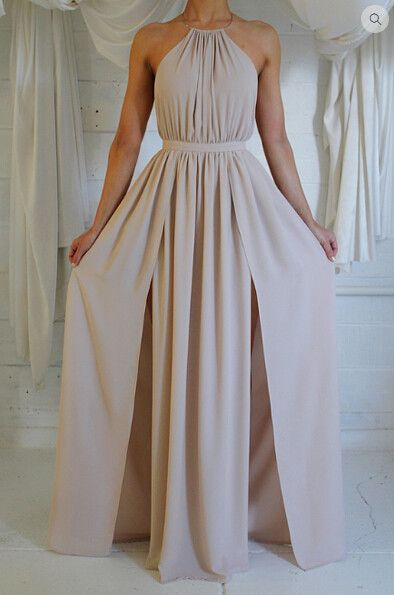 Sexy Halter Strap Slit Dress