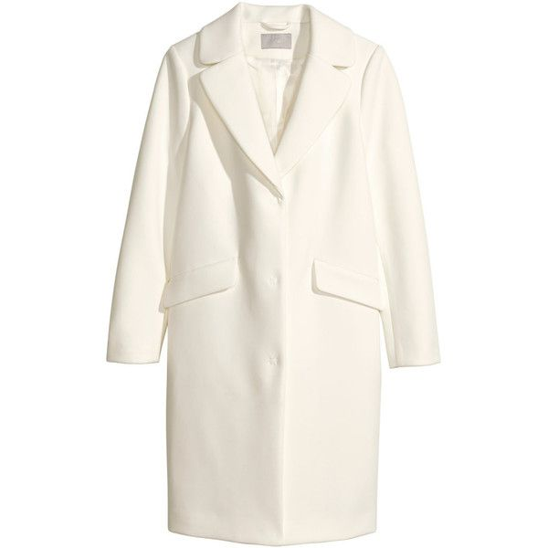 H&M Coat ($39) ❤ liked on Polyvore featuring outerwear, coats, jackets, coats & jackets, h&m, white, h&m coats and white coat