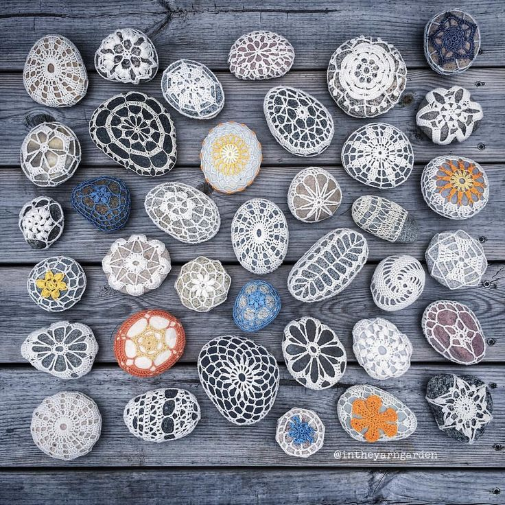 This is my entire crochet covered stone collection. I made the first one over a year ago. I haven't got tired of making them yet. #intheyarngarden #crochetcoveredstones