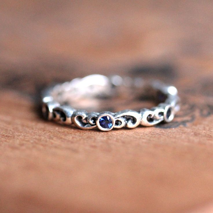Sapphire eternity ring, sapphire wedding ring, silver eternity ring, blue sapphire wedding ring, womens wedding band, custom made to order