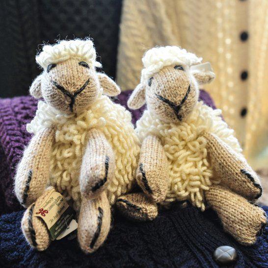 Knitted sheep teddies! <3  Available here: http://www.standun.com/aran-handknit-sheep-teddy-by-carraig-donn-r457.html