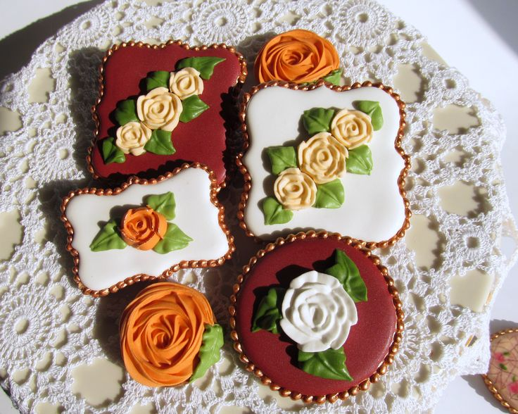 Vintage retro rose cookies