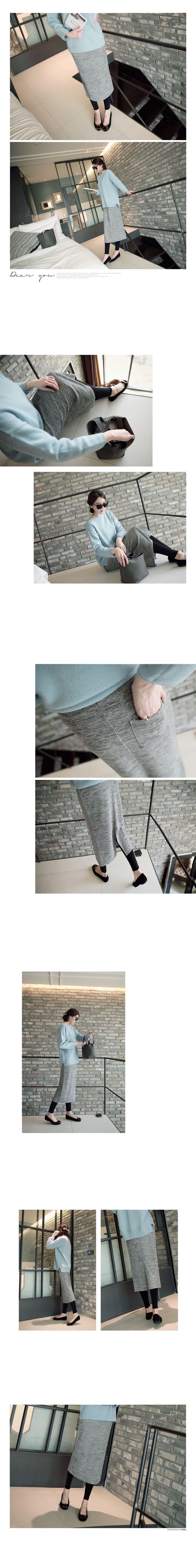 Pocket-Back Mélange Midi Skirt mayblue   YESSTYLE