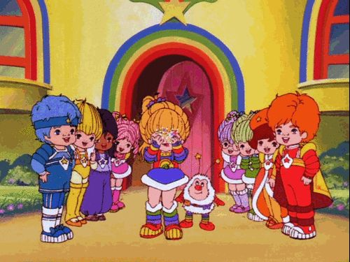 Thinking Rainbow Brite was the coolest girl EVER, and drawing fashion inspiration from her colorful getups.