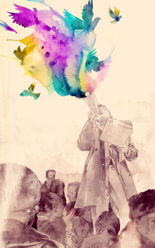 Manifesto by mathiole. Love the teal purple and yellow watercolour birds