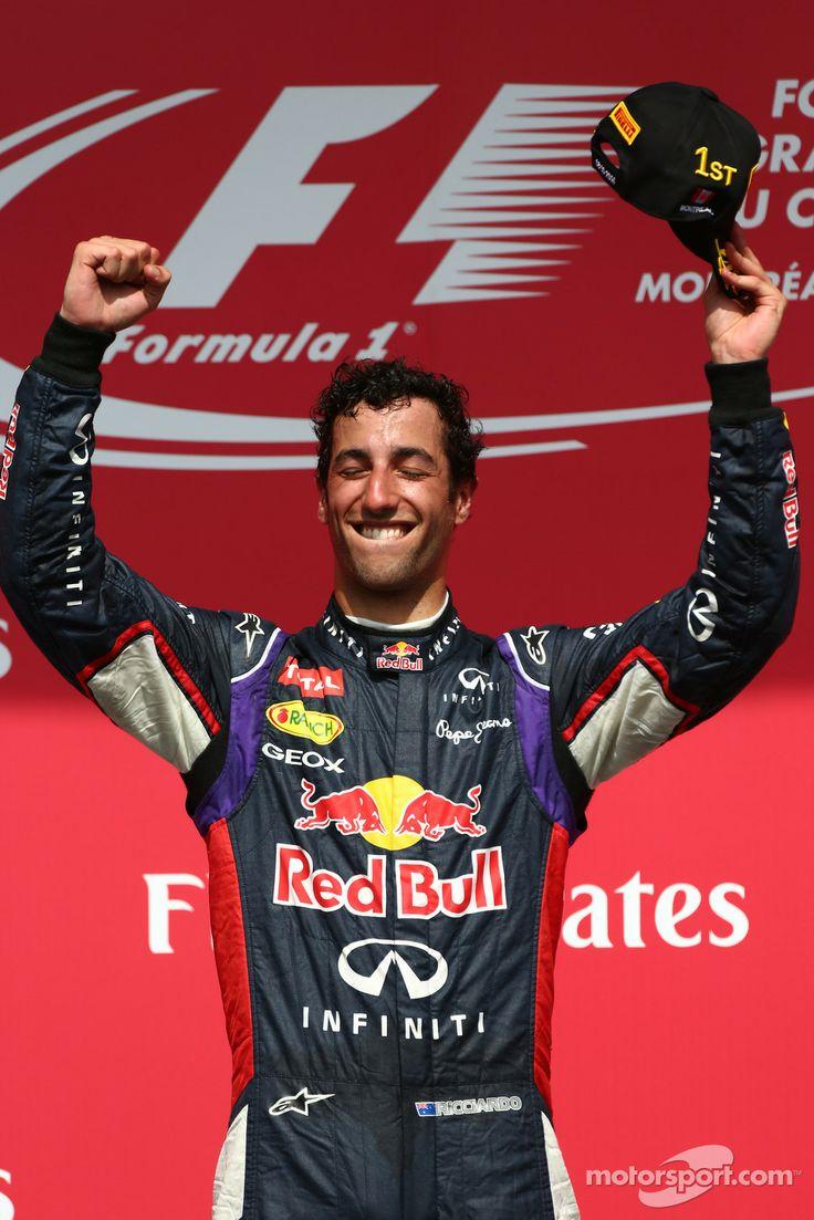 Racing! Mechanics and drivers alike!  Daniel Ricciardo celebrating his first GP win on the podium - 2014 Canadian GP
