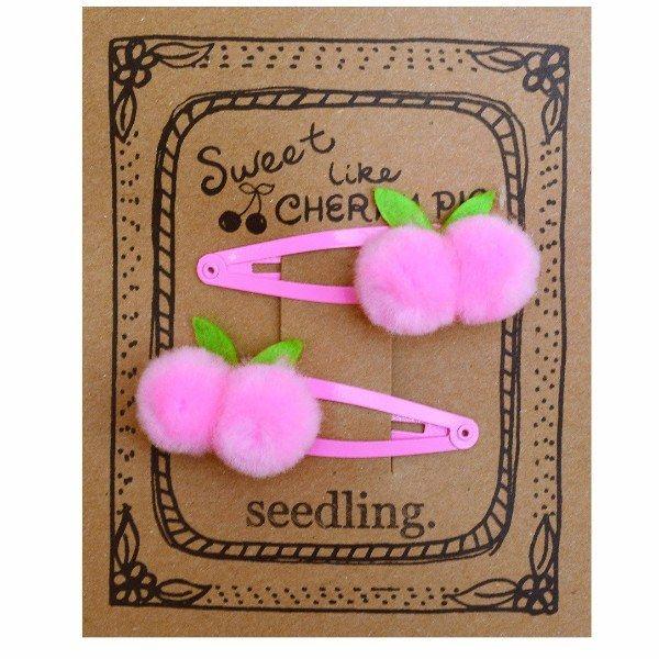 Sweet Like Cherry Pie Pom Pom Hair Clips