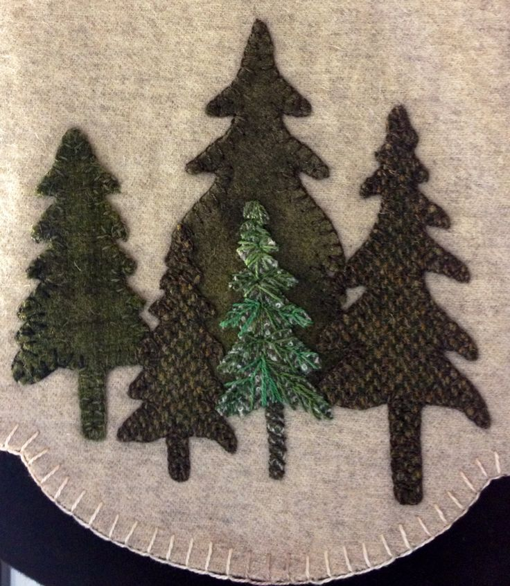 Wool Applique Tree Lot Candle Mat www.prettypennyprecuts.etsy.com