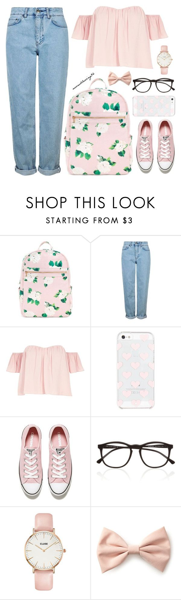 """""""Back To School"""" by avonsblessing94 ❤ liked on Polyvore featuring Topshop, River Island, Kate Spade, Converse, Illesteva, CLUSE and Forever 21"""