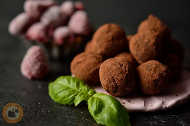 Raspberry & basil truffles