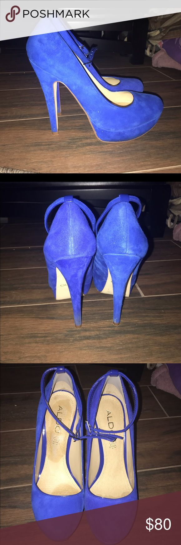Wolny blue heels! :) only worn once! Super cute high heels! Only worn once. The area that has a differentish color on the inside of the shoe is because I had gel insoles in them but I took them out. I wore them for formal pictures and that's it Aldo Shoes Heels