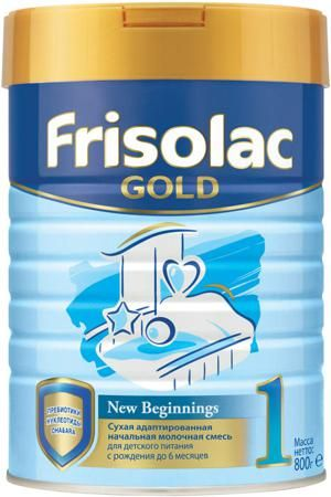 Friso Фрисолак 1 Gold (с 0 до 6 месяцев) 800 г  — 899р. -------- Молочная смесь Frisolac Gold 1 с рождения 800 г. Смесь предназначена для смешанного и искусственного вскармливания детей и содержит важные питательные вещества для здорового роста и развития Вашего малыша: докозагексаеновую (DHA) и арахидоновую (ARA) кислоты - необходимый строительный материал для развития мозга; пребиотики (ГОС) - натуральные пищевые волокна для комфортного пищеварения; нуклеотиды - пищевые вещества…