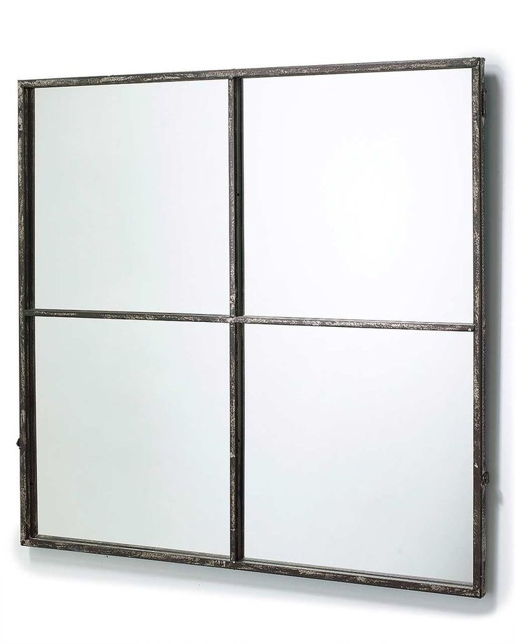 BLACK WINDOW PANE WALL MIRROR H:80CM, SQUARE, 4 PANE, METAL, LARGE