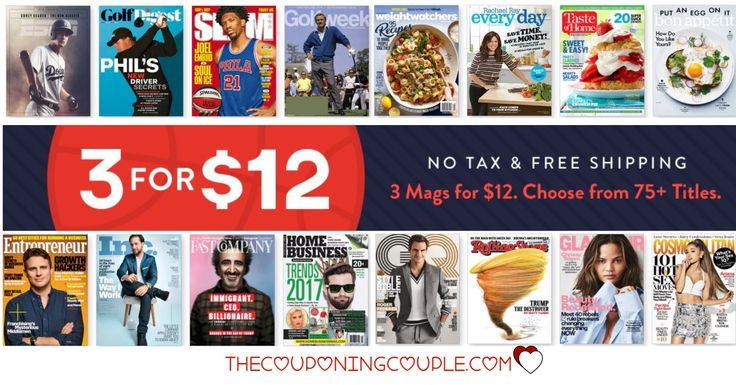 HOT MAGAZINE DEAL! Get 3 Magazines of your choice for only $12! What a FANTASTIC price! Great gift ideas!  Click the link below to get all of the details ► http://www.thecouponingcouple.com/3-magazines-deal/ #Coupons #Couponing #CouponCommunity  Visit us at http://www.thecouponingcouple.com for more great posts!
