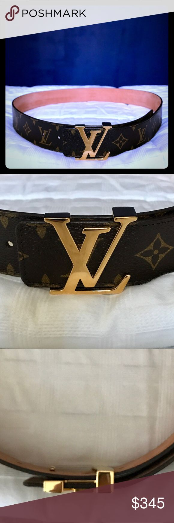 Louis Vuitton 40MM Men's Belt Louis Vuitton 40MM LV Initiales Men's Belt. This belt features a golden buckle with the classic LV initials with Monogram canvas. There are 5 belt holes on this belt (featured in image 6). In excellent condition as it was only worn once. Comes with dust bag (as shown). 100% authentic. No trades – Posh rules only!  Belt width: 40 MM  Product SKU: M9608  Size: 95 CM / 38 Louis Vuitton Accessories Belts