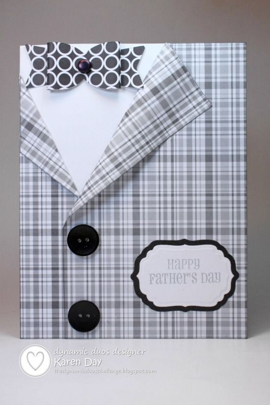 handmade Father's Day card ... black, white and gray ... luv this shaped card ...  plaid suid with a dimensional bow tie and real buttons ... like the whole design, especially the off-set so a sentement label could be added ....