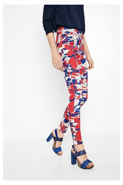 Desigual Broeken Skinny Camo lente/zomercollectie 2017! jeans pants print floral white red and blue