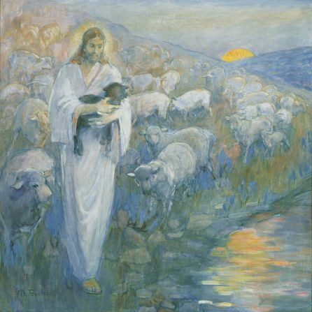 (Christ) Rescue of the Lost Lamb, by Minerva K. Teichert