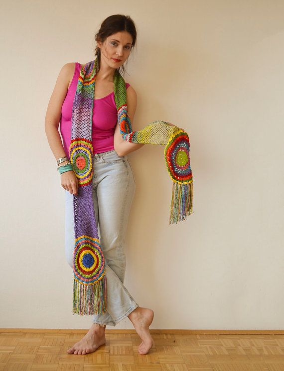 Multicolor Crocheted Circle Scarf Light Silky Yarn by subrosa123, €65.00