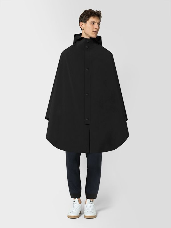 Designed in collaboration with design collective Snarkitecture, the Element Poncho's minimalist exterior is constructed from a breathable, waterproof shell, hand-cut for clean and exact edges, and lined with ventilating mesh. Its detailed interior features a laser-cut pocket system, heat-sealed for elemental protection, and faced with reflective panelling.