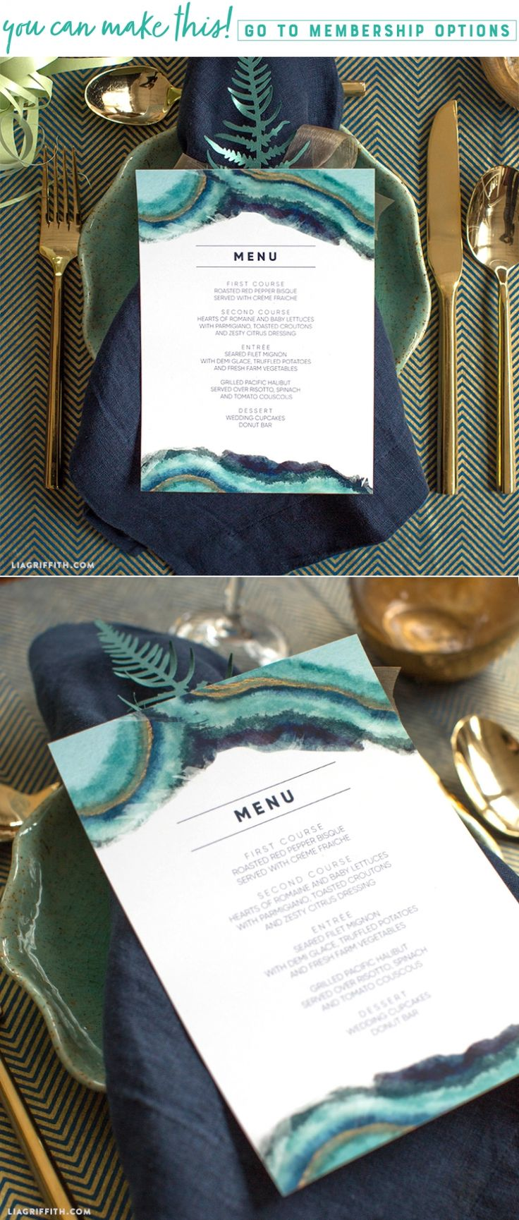 Download and Print Watercolor Wedding Menus - Lia Griffith - www.liagriffith.com #diywedding #paper #paperart #diyinspiration #diytable #madewithlia
